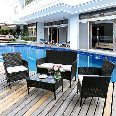 Garden Rattan Furniture Set Outdoor Indoor Conservatory Set Table Sofa 4 PCS