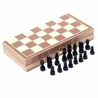 Wooden Pieces Chess Set Folding Board Box Wood Hand Gift Play Kids Toy Grateful
