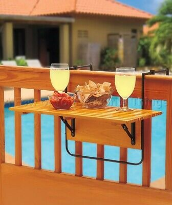 Folding Natural Wood Table Hangs On Deck Railing Outdoor Balcony Porch