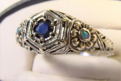 Pretty Antique Art Deco Sapphire Sterling Silver Opal Sz 7 Floral Cocktail Ring
