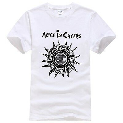 2017 New Alice In Chains Sun Printing Short Sleeve Black Cotton T Shirt