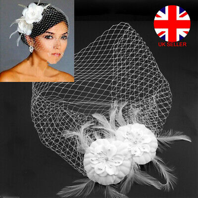 Bridal Wedding Retro Birdcage Face Veil Flower Feather Hair Comb Hairpin Jewelry