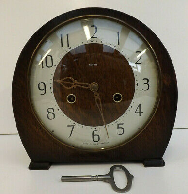 Art Deco Smiths 8 Day Westminster Chime Mantel Clock In Full Working Order