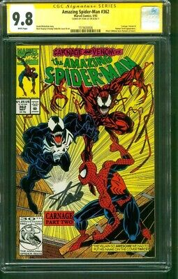 Amazing Spider Man 362 CGC SS 9.8 Stan Lee 2nd Carnage Venom 1992