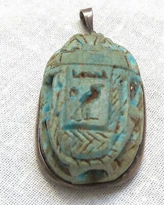 Egyptian Revival Scarab Pendant Blue Sacred Ibis Carved Hieroglyphics Cartouche