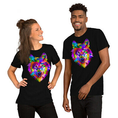 Abstract Colorful Wolf Head - Pop Art Style - Animal Wild Unisex T-Shirt Shirt
