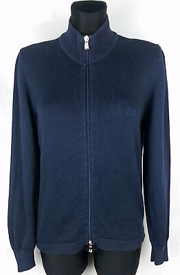 Fred Perry Blue Long Sleeve Women's Full Zip Cardigan Size:M 100% Cotton