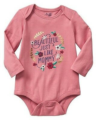NEW Baby GAP Toddler Girls 6-12 mos Beautiful like Mommy Pink Cotton Bodysuit
