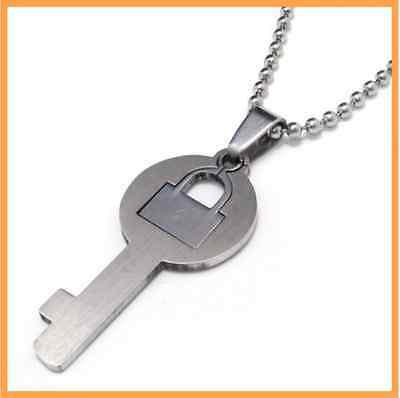 Hot sale Fashion Key and Lock Pendant 316L Stainless Steel Mens Womens Necklaces