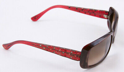 6a0393ec9e7c JUDITH LEIBER Brown and red rectangular frame sunglasses with mosaic accent