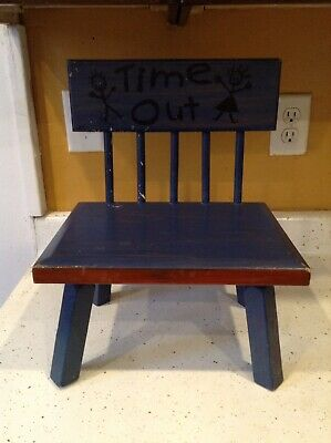 Time Out Chair Antique Solid Wood Child Trouble Vintage
