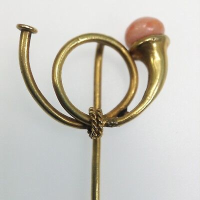 Antique Victorian 14K Gold French Horn w Coral Stick Pin