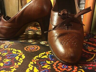 VTG 1940s Heeled Oxford Brown Leather