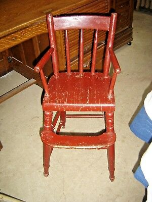 Antique Child's Primitive Youth Chair with Red Paint. 7909