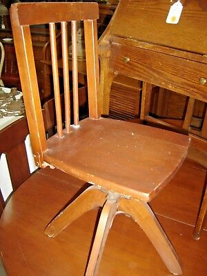 Antique Child's Swivel Desk Chair. Poplar stained red mahogany.7913