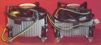 "Two Intel D34223-001 Socket 775 Aluminum Heat Sinks with 3"" Fans VGC"