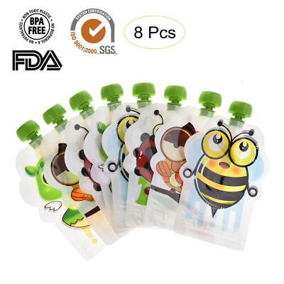 8x Newly Reusable Resealable Squeeze Food Pouch Storage Bags DIY Baby Food 150ML
