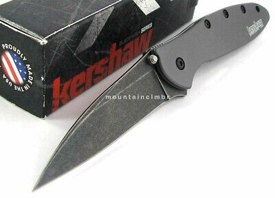 Kershaw USA Leek BLACKWASH Speed Assisted Opening GREY Aluminum Knife 1660GRYBW