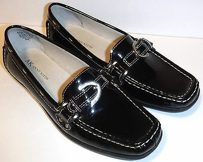 4889c1dcf1b Anne Klein Black Patent Leather Loafers Oxfords Driving Shoes