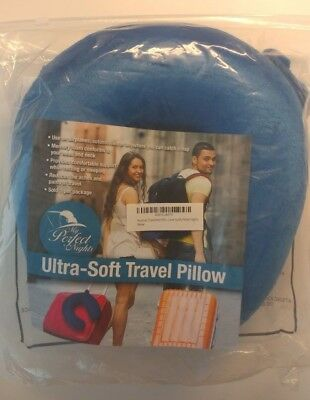 Premium Travel Neck Pillow (Blue) Super Soft Memory Foam with Washable Cover