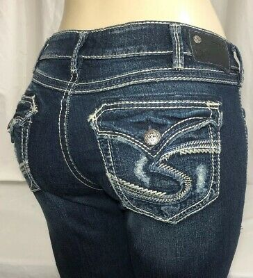 e88c662c NWOT Silver Jeans WOMEN Suki Aiko Low Straight Stretch Tag Size 30x30 New  Buckle