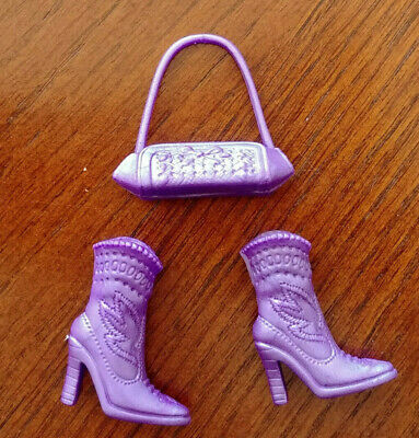 Barbie Doll Fashion Fever - Purple Cowboy Boots & Purple Purse Only - Darling