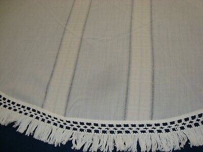 "VTG Linen Stripe FABRIC TABLECLOTH Macrame type Fringe 62"" round Off white"