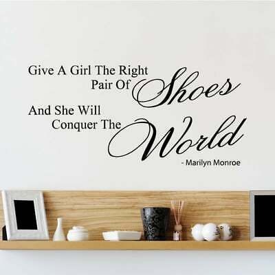 Marilyn Monroe Give a Girl Right Shoes Wall Decal Vinyl Art Sticker Quote B67