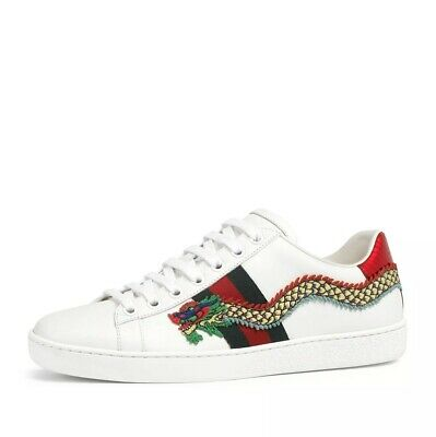 e1a0e9794 New Gucci New Ace Dragon-Embroidered Leather Low-Top Sneakers Size 38/8