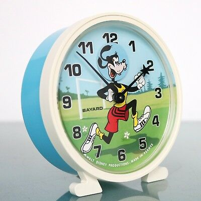 French BAYARD GOOFY Vintage Disney Alarm CLOCK Mantel Motion! ANIMATED FEATURE!