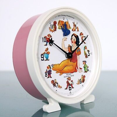 Vintage BAYARD SNOW WHITE French Alarm CLOCK Disney 1977 Mantel Motion ANIMATED