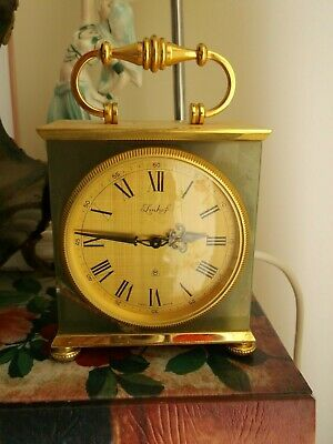 Vintage Green Onyx IMHOF 8 Day Mantel/Carriage Clock Swiss Made, 15 Jewels