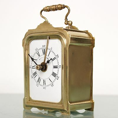 Antique JAPY FRERES French Mantel Alarm CLOCK TOP Brass FIXED PENDULUM Desk RARE