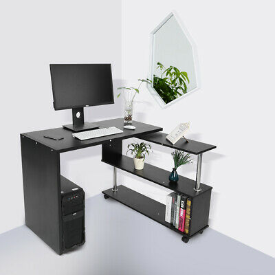 Adjustable Corner Computer Desk Home Office L-Shaped Study Table With Shelves