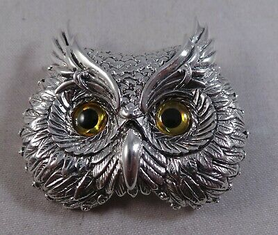Beautiful Owls Face New Sterling Silver Brooch / Pin / Badge