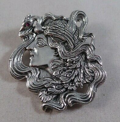 Superb Sterling Silver Art Nouveau Style Lady Pin / Badge / Brooch / And Pendant