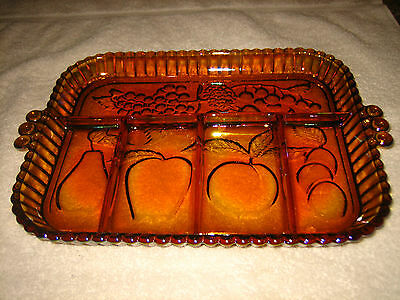 Vintage Indiana Glass~Iridescent Gold Carnival #1202 Fruit Relish Tray~Euc~L@@K~