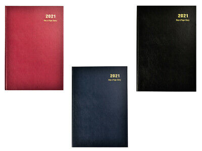 A5 2020 Diary Day to Page Desk Diary Hardback Cover, Red, Blue, Black x 1