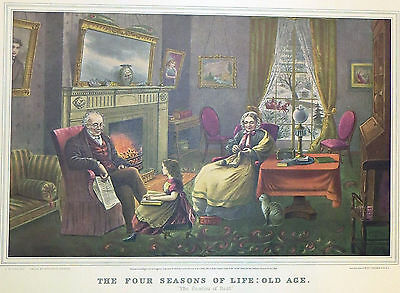 """1952 Vintage Currier /& Ives /""""LIFE OF A FIREMAN THE FIRE/"""" FLAMES COLOR Lithograph"""