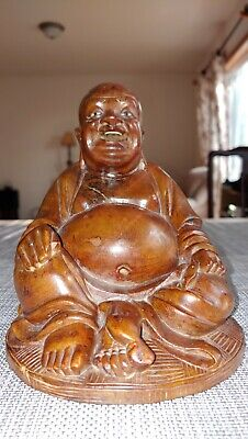 龙眼木雕弥勒佛像Antique wooden happy buddha sculpture Statue effigy hand Carved figurine