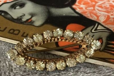 Vintage Art Deco 30s Clear rhinestone Rolled Gold oval Brooch