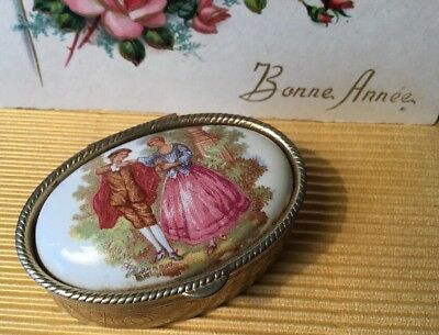 Vintage Collectable courting couple Porcelain etched fragonard oval Pill Box