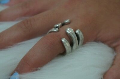 NEW Engraved Uno De 50 Stamped Silver Sor Tijon Open Band Ring 8.5 XL UNISEX