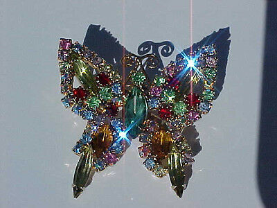 1930's ART DECO  BUTTERFLY PIN with 66 BEAUTIFUL MULTI-COLORED FACETED STONES