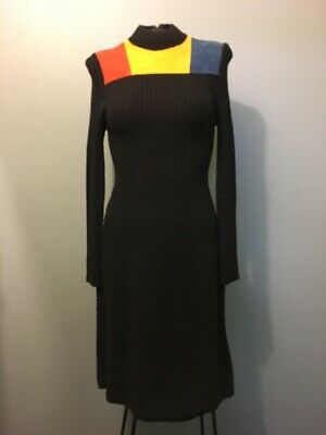 Vtg 60s 70s Ladies Black Wool Knit Dress Womens 10 Stretchy Leather Hippy Disco