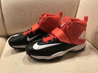 a5a7b82340b New Nike Flywire Lineman 3 4 TD Football Cleats 603350-008 Black Orange  Men s