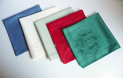 Macra Lace Lot of 10 Linen Dinner Napkins Mixed Colors Cloth Table Accents