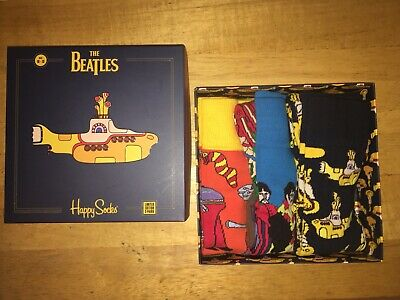 NEW HAPPY SOCKS LIMITED EDITION The Beatles 3pk Gift Set SIZE 10-13
