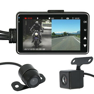 "3"" HD LCD Motorcycle Dual Lens Camera Dash Cam Video Recorder DVR Waterproof FL"