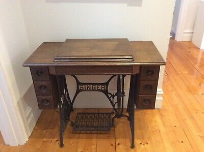 Antique Singer sewing machine and table